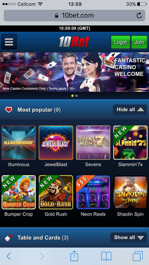 are there a live & mobile options at 10bet casino