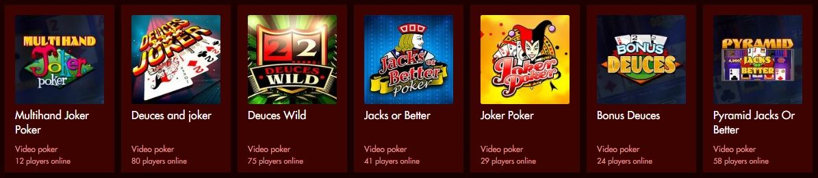 Play video poker at the Spartan Slots betting site!